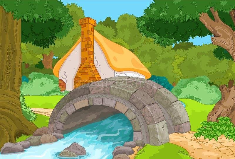 Forest Cabin. Rural forest cabin landscape next to river vector illustration