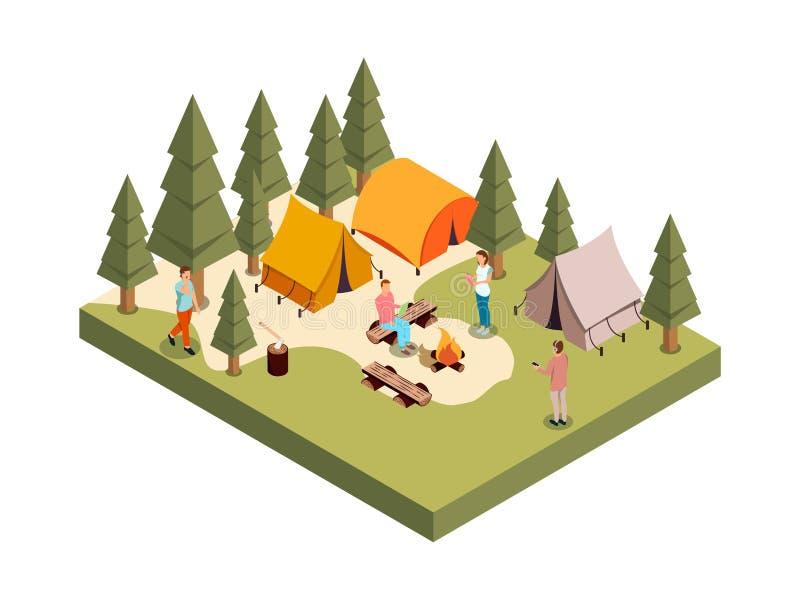 Forest Camp Isometric Composition illustrazione di stock