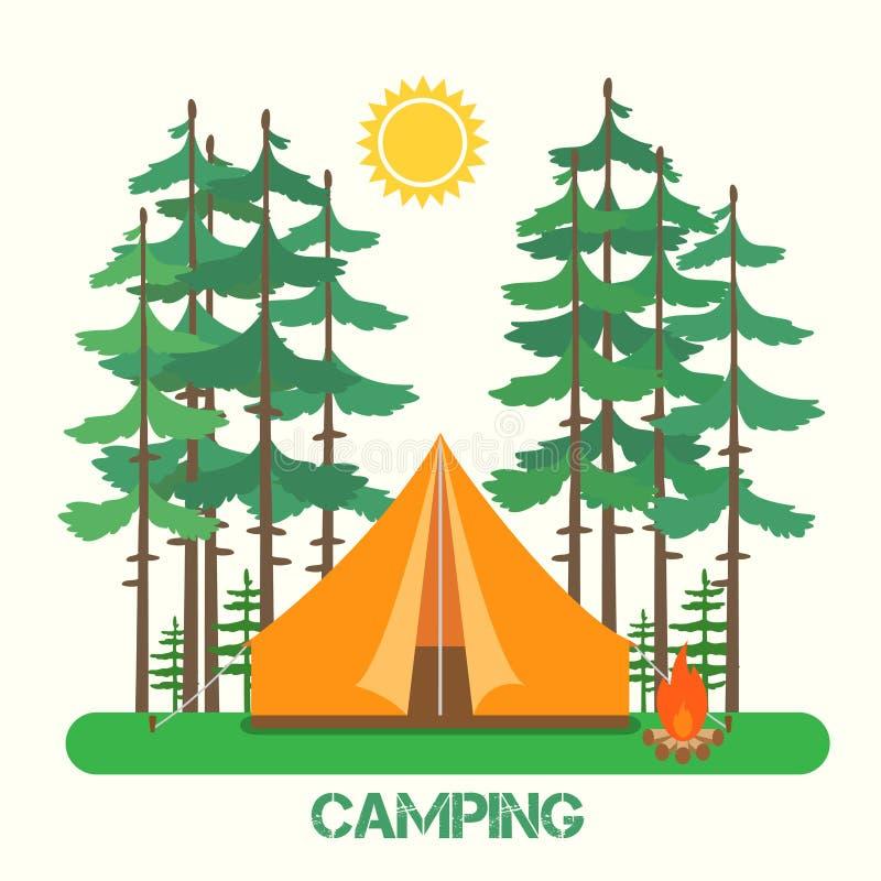 Forest Camp Tienda con una hoguera libre illustration