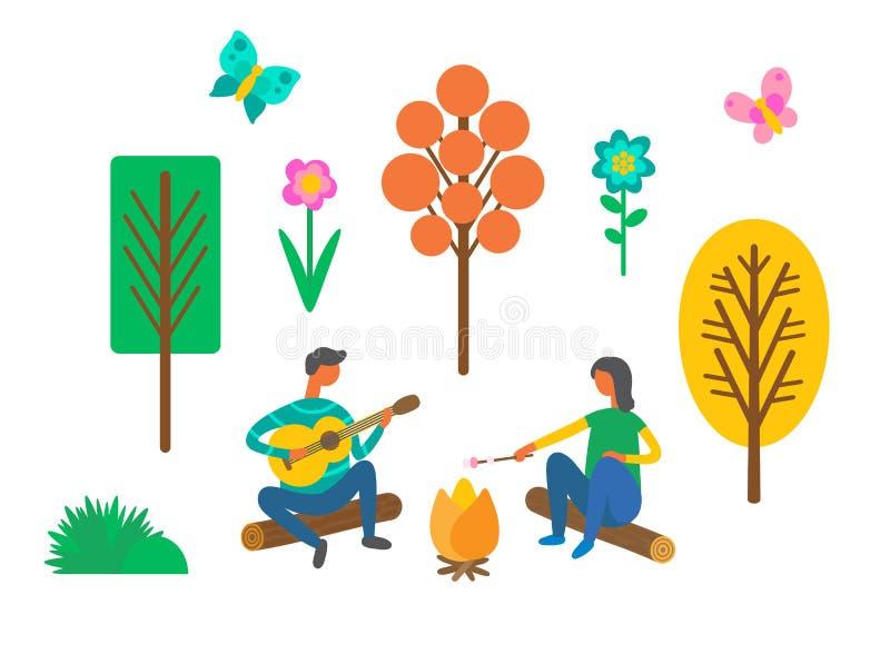 Forest Camping, Paar nahe Lagerfeuer mit Gitarre stock abbildung
