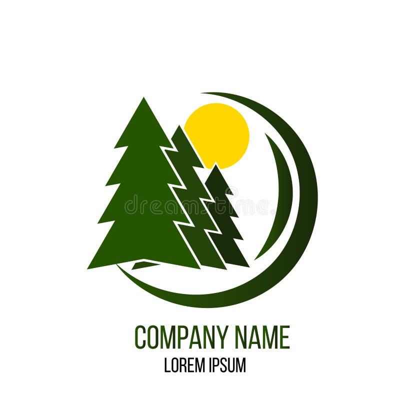 Forest Care e logotipo de Madeira Corte Empresa ilustração do vetor