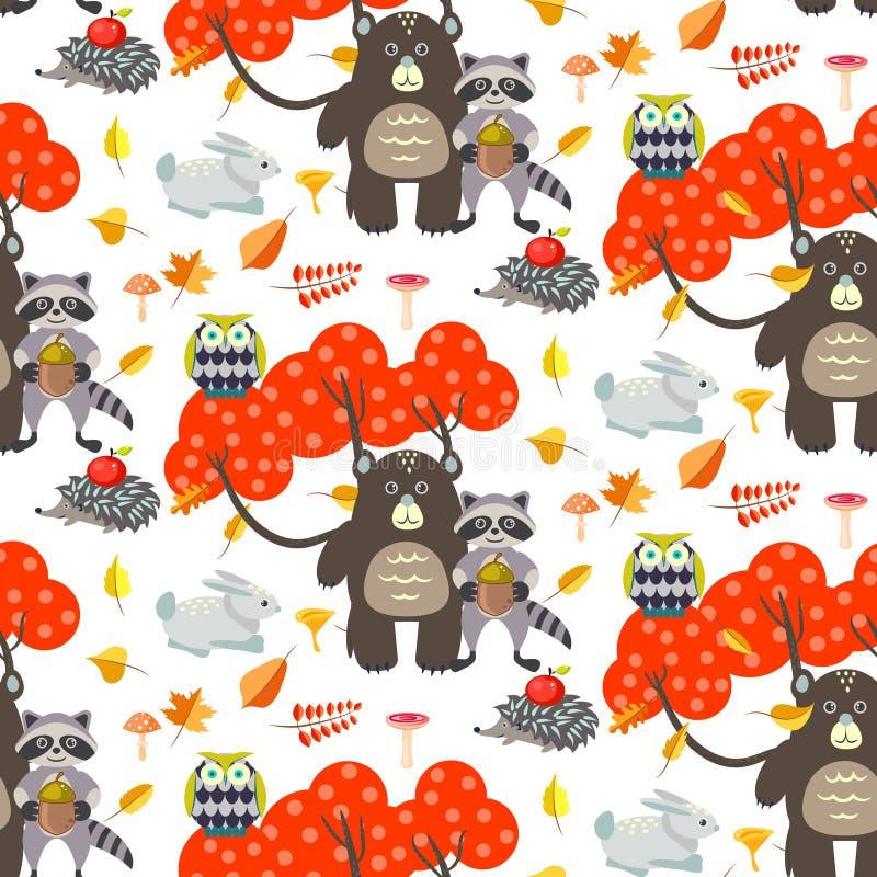 Forest cartoon animals autumn white seamless pattern. stock illustration