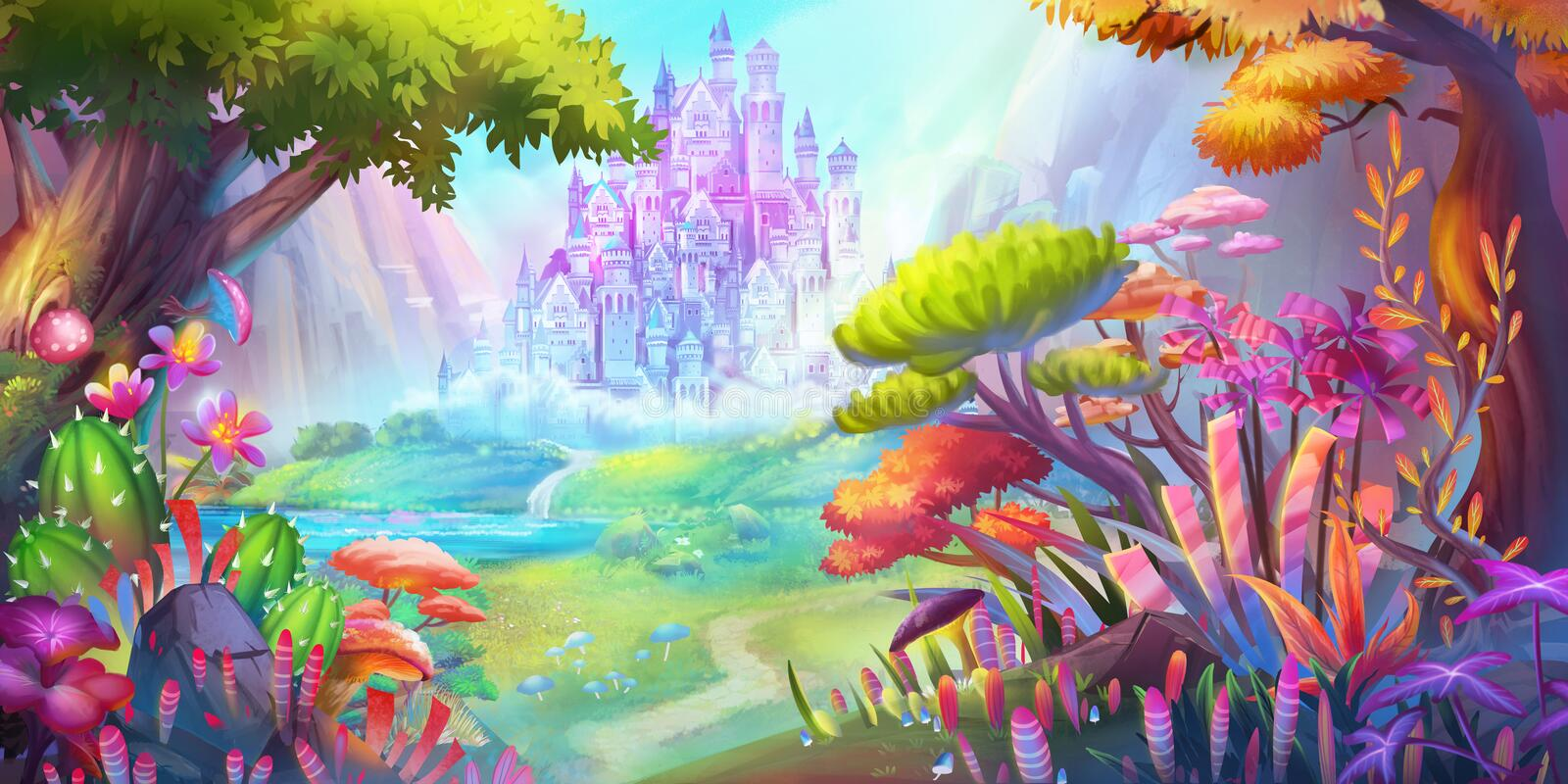 The Forest and Castle. Mountain and River. Fiction Backdrop. Concept Art. Realistic Illustration. Video Game Digital CG Artwork. Nature Scenery vector illustration