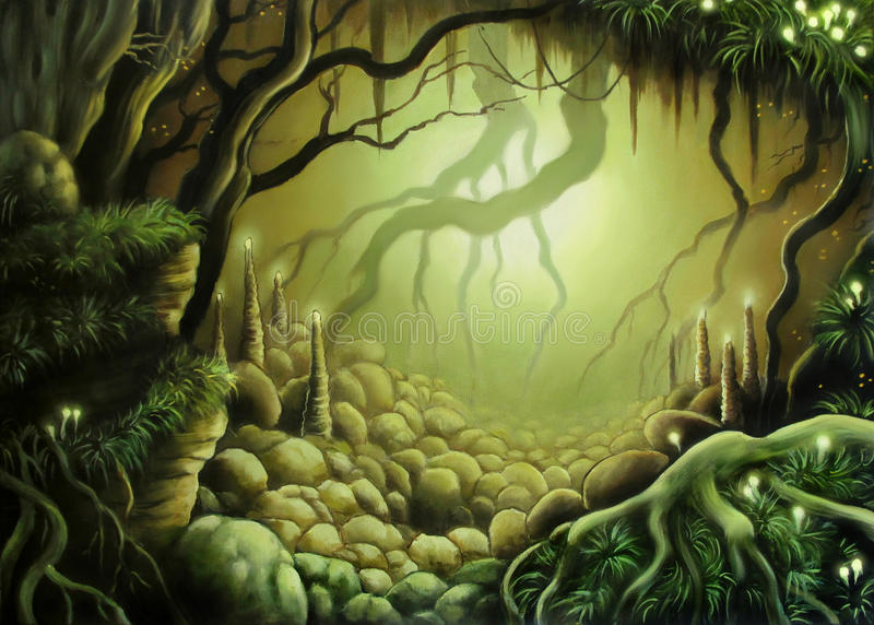 Forest cave. Original fantasy art, scenery of cave hidden in deep forest royalty free illustration