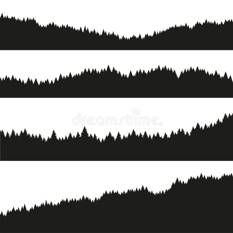 Forest of Christmas fir trees silhouette. Coniferous spruce panorama. Park of evergreen wood. Vector on white background stock illustration