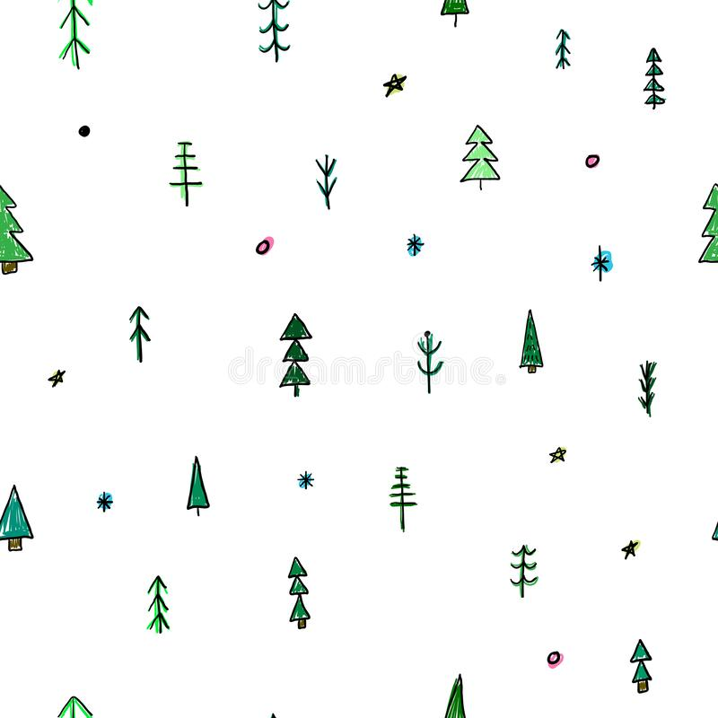 Forest Christmas tree simple seamless pattern vector illustration