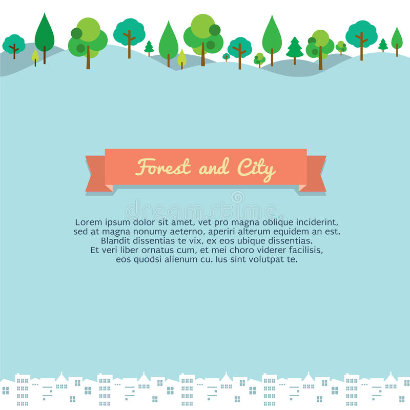 Forest And City royaltyfri illustrationer