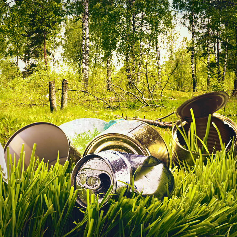 Forest contaminated waste and garbage stock images