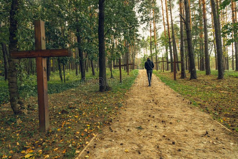 Forest and Crosses at Mass Grave in Kurapaty, near Minsk, Belarus. royalty free stock photos