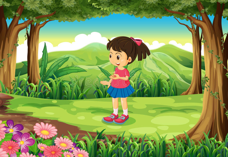 A forest with a cute schoolgirl. Illustration of a forest with a cute schoolgirl stock illustration