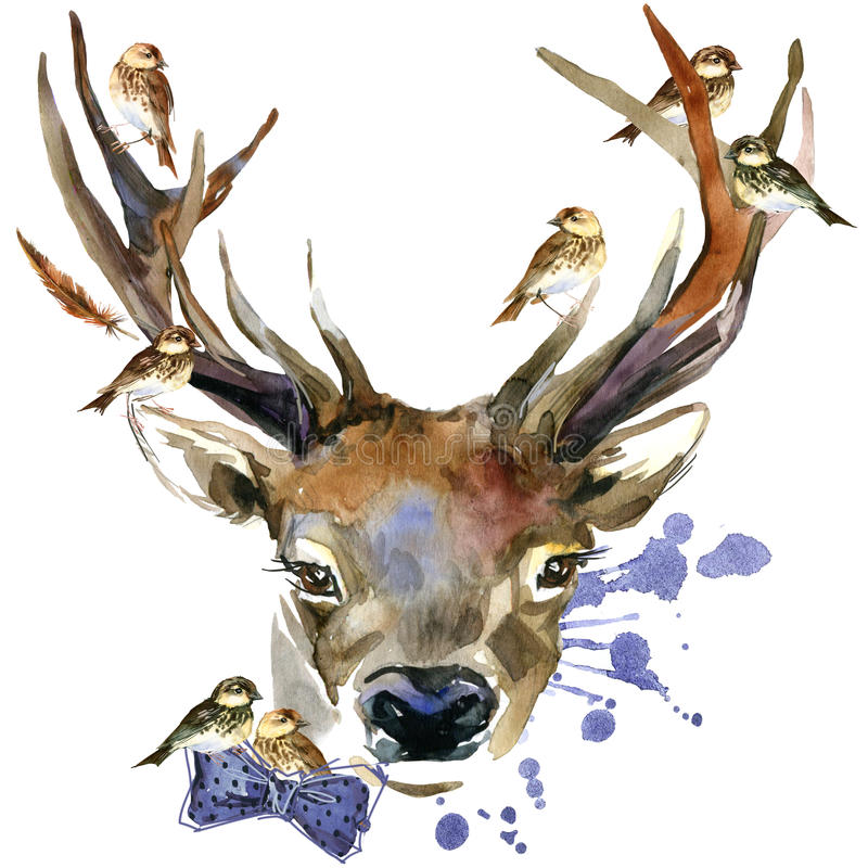 Forest deer and birds T-shirt graphics. deer illustration with splash watercolor textured background. stock illustration