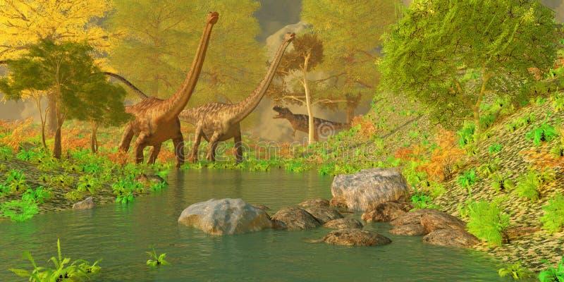 Forest Dinosaurs profundo ilustração stock