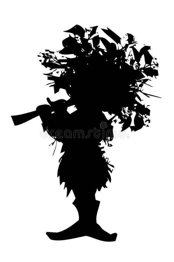 Forest elf - silhouette of fairy-tale character with whistle. Illustration isolated on white background vector illustration