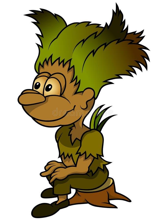 Forest Elf Sitting On Stump stock illustrationer