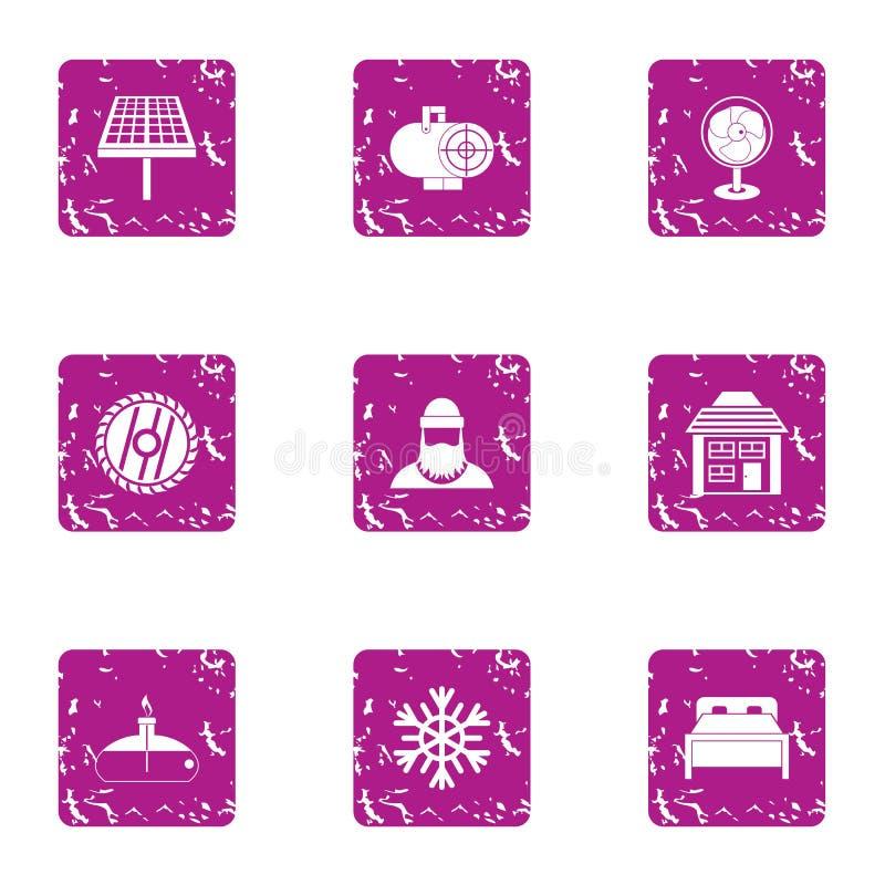 Forest enterprise icons set, grunge style vector illustration