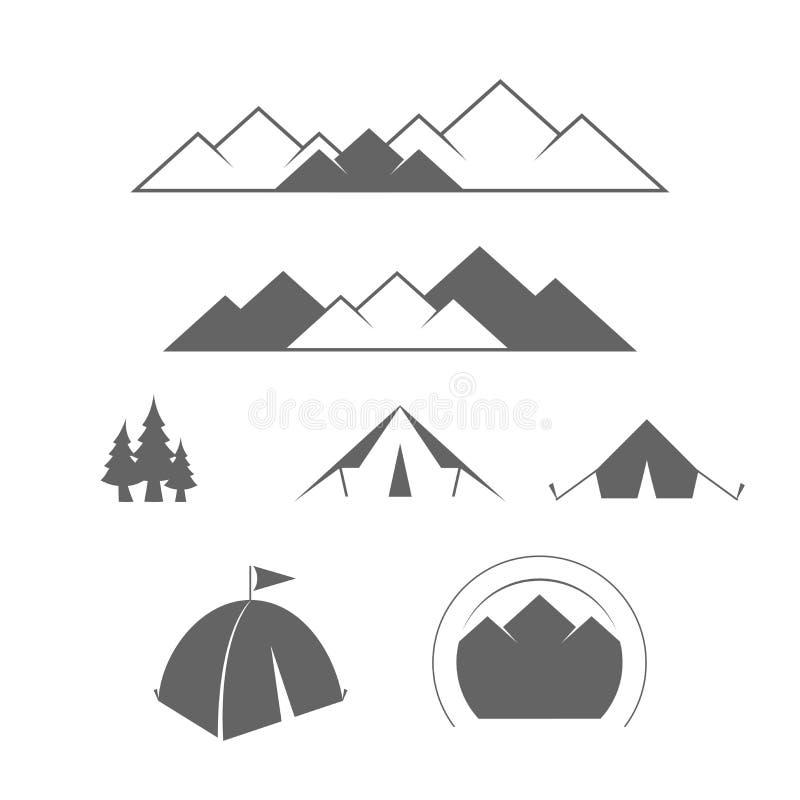 Forest Expeditions de camper, aventure extérieurs ou de montagne et Tourisme alpin Ensemble d'éléments de conception de vecteur p illustration de vecteur