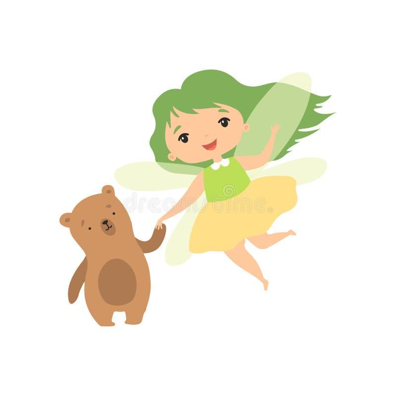 Forest Fairy bonito com urso pequeno, personagem de banda desenhada feericamente bonito da menina com cabelo verde e ilustração d ilustração royalty free