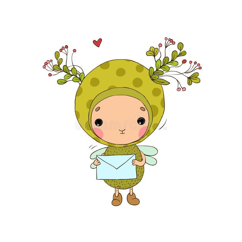 Forest Fairy en hart op een witte achtergrond royalty-vrije illustratie