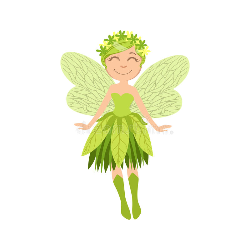 Forest Fairy Girly Cartoon Character bonito ilustração royalty free