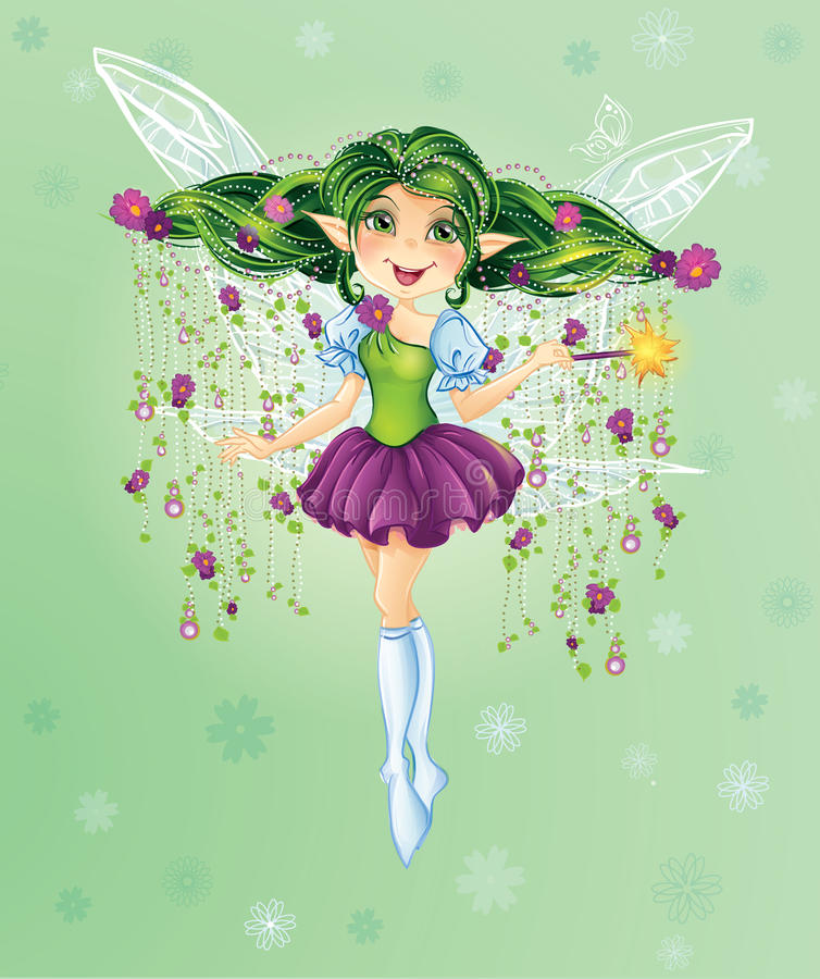 Forest Fairy with Green Hair stock illustration