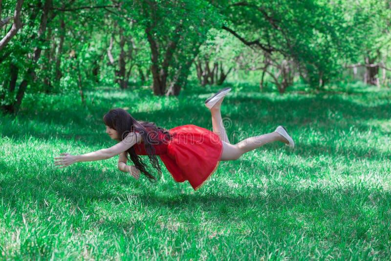 Forest Fairy Morena bonita na natureza em um vermelho foto de stock