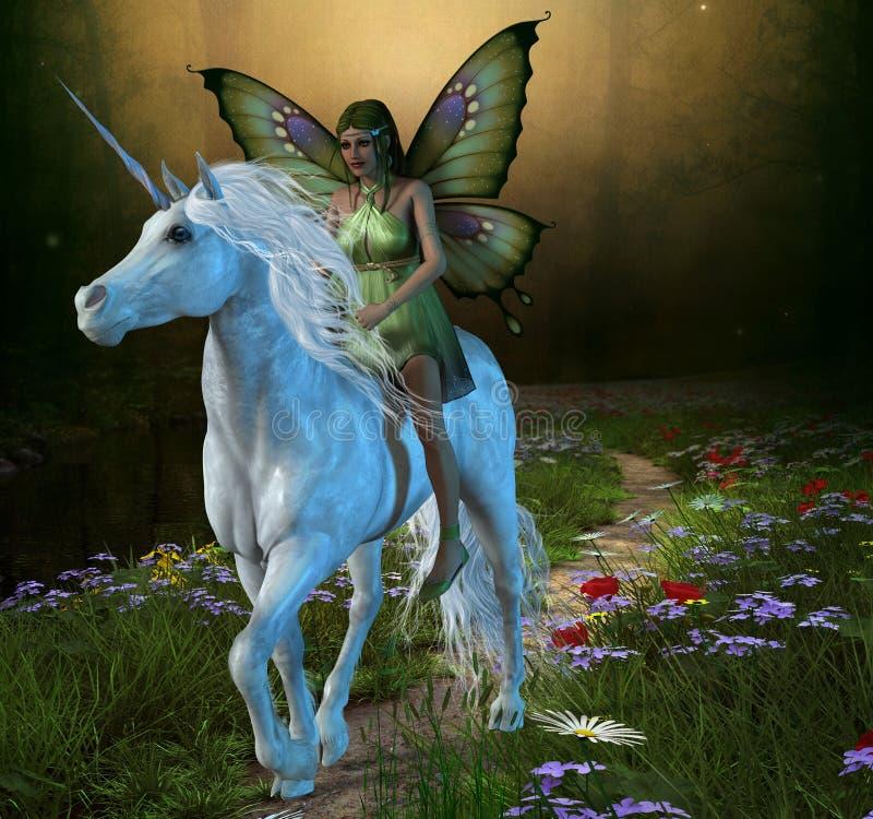 Forest Fairy och enhörning stock illustrationer
