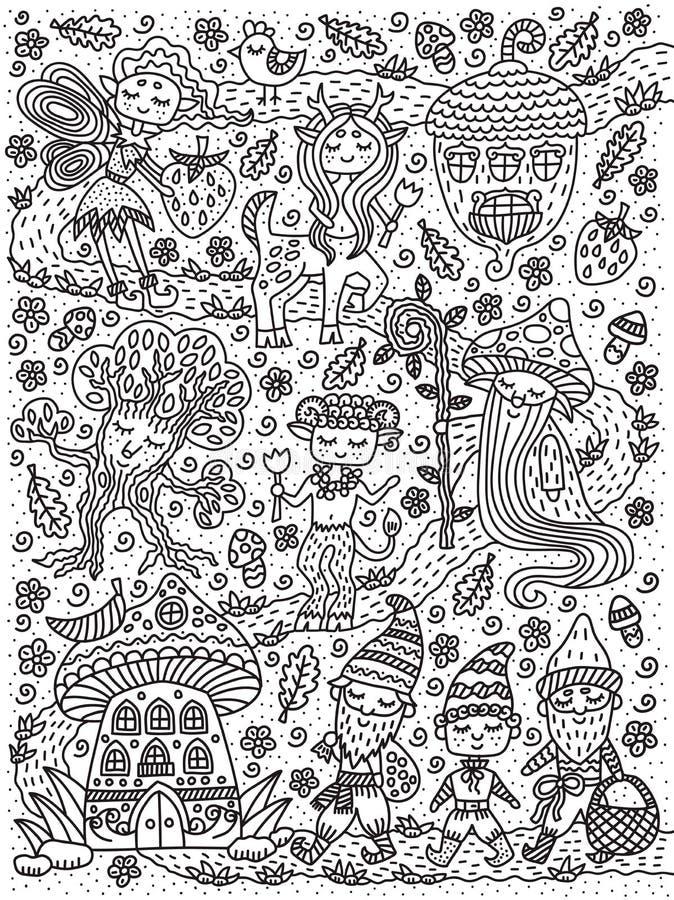 Forest Fairy Tale Fe gnom, mage, champinjon, ekollon, kentaur, träd Sida för färgläggningbok Översiktsteckning också vektor för c stock illustrationer