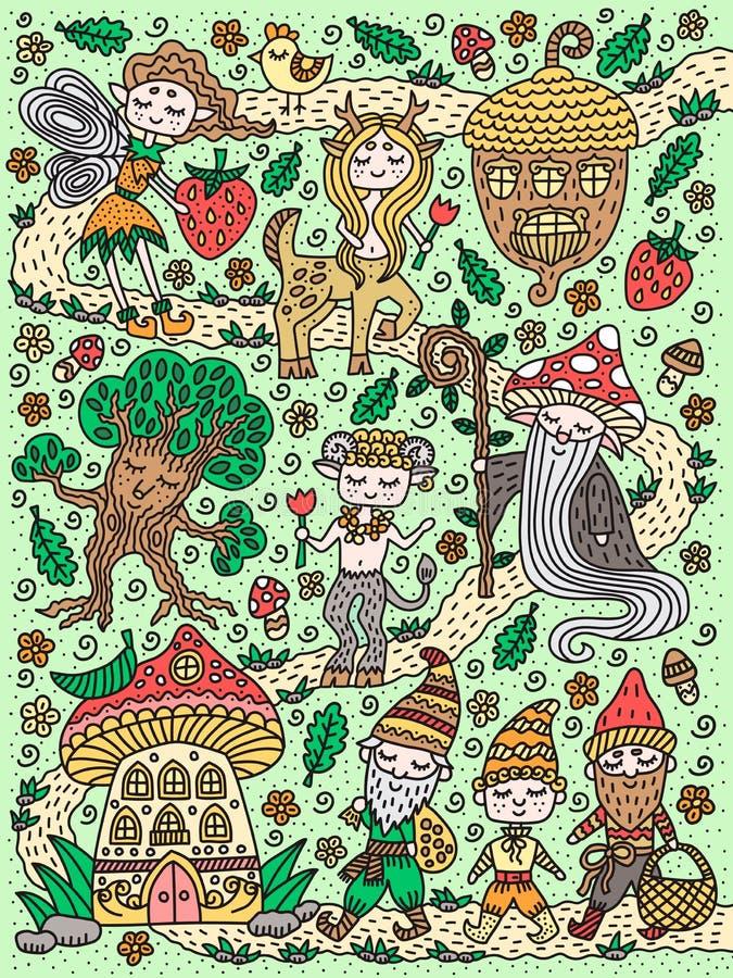 Forest Fairy Tale Hada, gnomo, mage, seta, bellota, centauro, árbol Garabatos exhaustos de la mano linda Ilustración del vector ilustración del vector