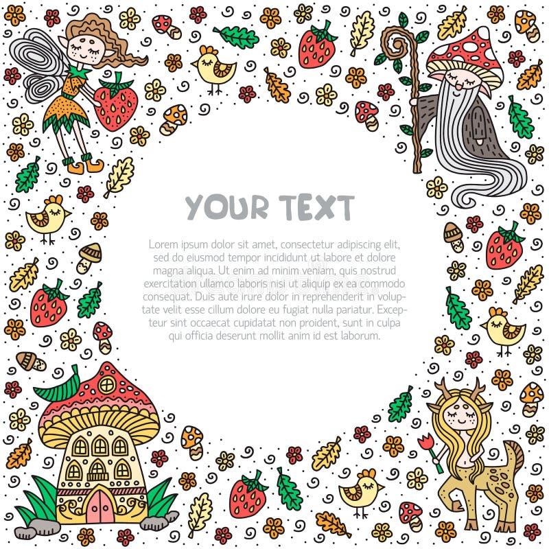 Forest Fairy Tale Kader en tekstmalplaatje Kaart, vlieger, banner Vector illustratie royalty-vrije illustratie