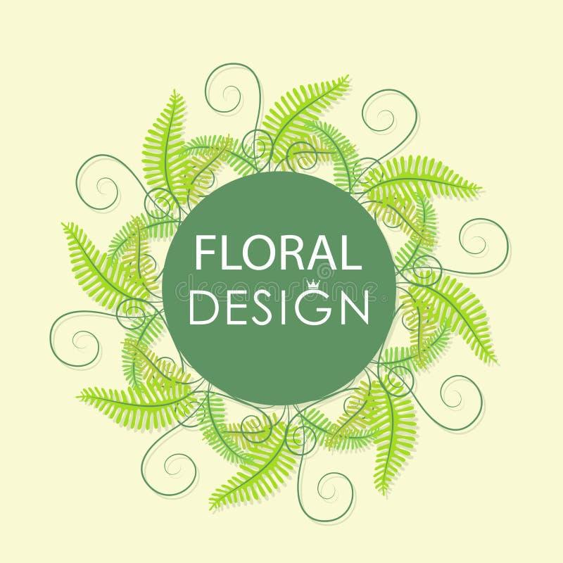 Forest fern. Floral greenery сard. vector illustration