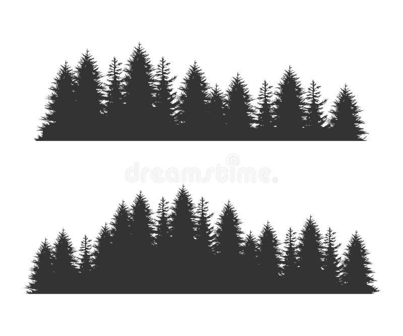 Forest Fir Trees Silhouettes, modello senza cuciture orizzontale attillato conifero, illustrazione sempreverde nera di vettore di illustrazione di stock