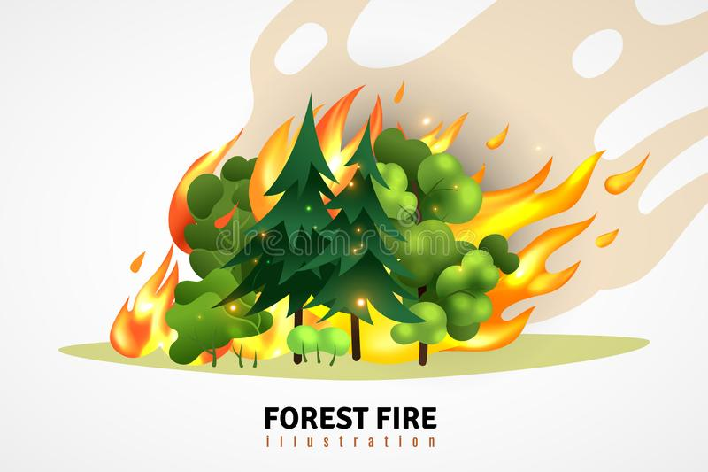 Forest Fire Cartoon Illustration illustration stock