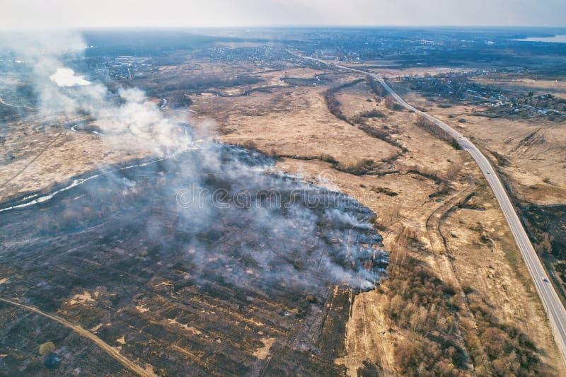 Forest Fire Combustione dell'erba asciutta nel campo, vicino al fiume immagine stock