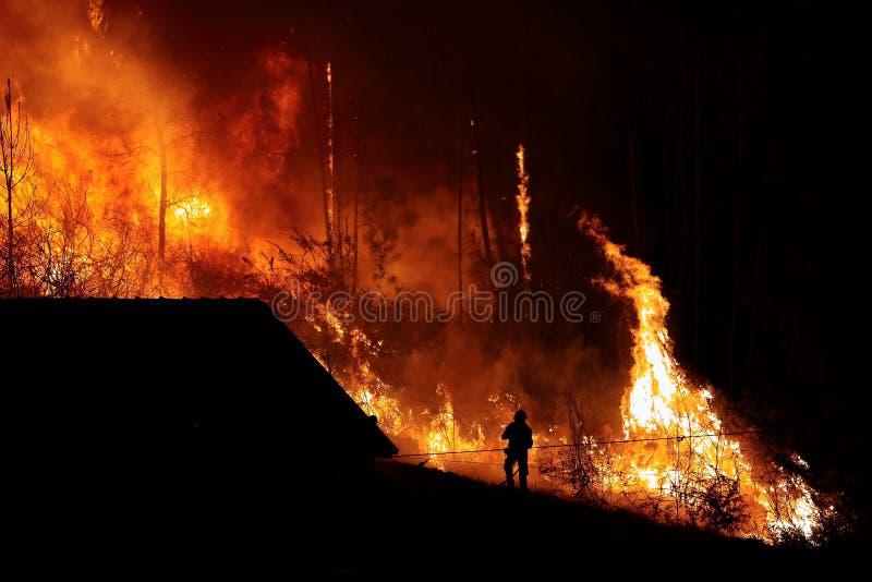 Forest Fire dicht bij een huis, Brandweermansilhouet stock fotografie