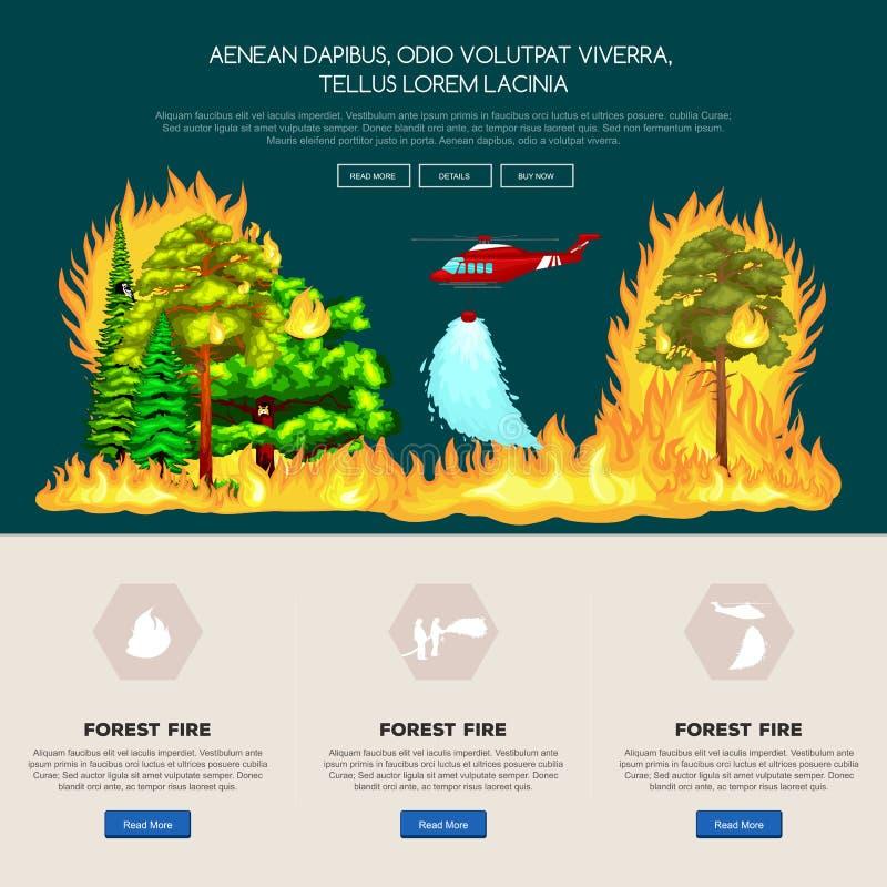 Forest Fire, fogo em dano da paisagem da floresta ilustração stock