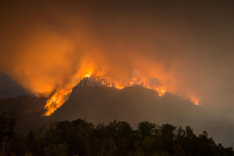 Forest fire, Lake Lure, North Carolina. Forest fire in mountains around Lake Lure, North Carolina at night royalty free stock photos