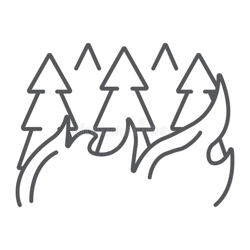 Forest on fire thin line icon, burn and disaster, burning trees sign, vector graphics, a linear pattern on a white royalty free illustration