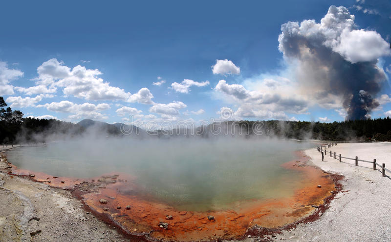 Forest fire in the Wai-o-Tapu geothermal area royalty free stock photo