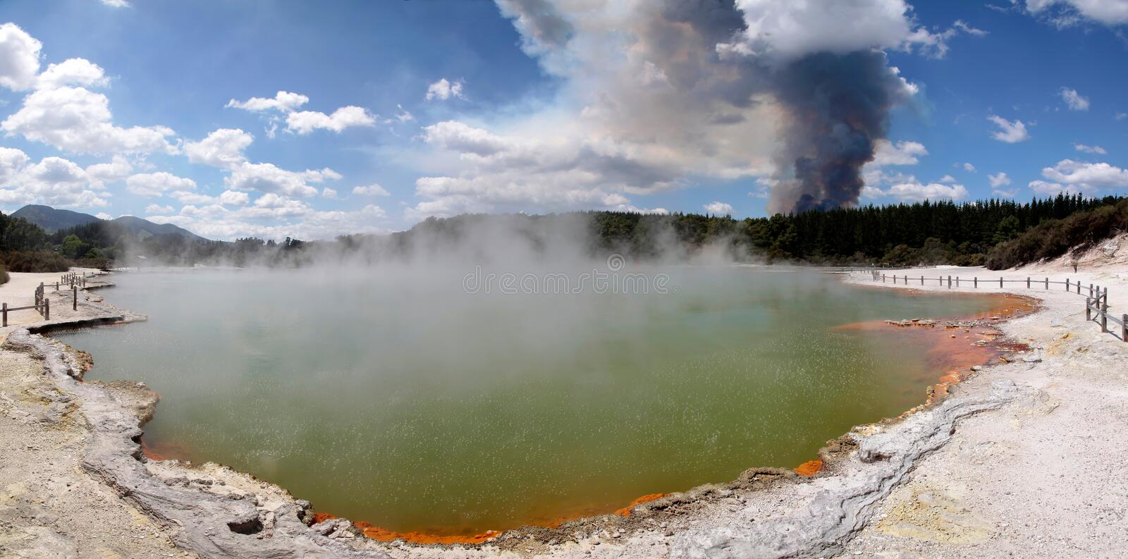 Forest fire in the Wai-o-Tapu geothermal area stock photography