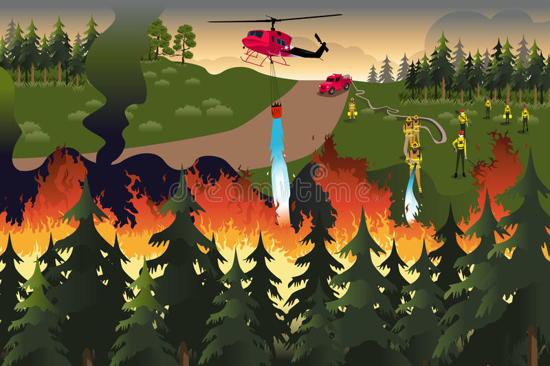 Forest Firefighters. A vector illustration of firefighters trying to put out fires in the forest royalty free illustration