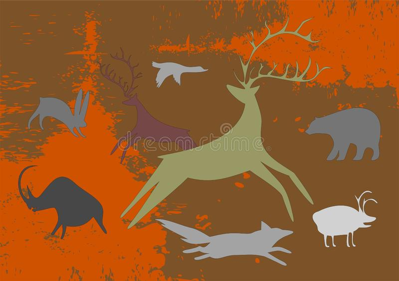 Forest fires burn fast. Wild animals run for their lives. The accident occurred because the heat. The danger of wildfire royalty free illustration