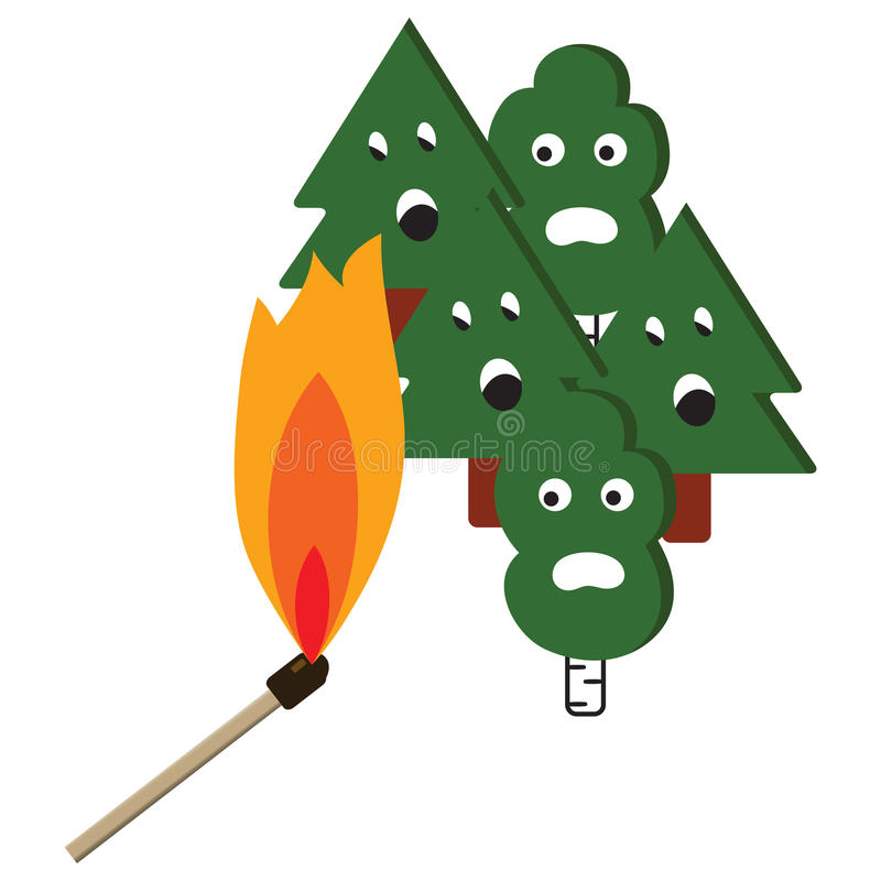 Forest fires dangerous match with flame royalty free illustration