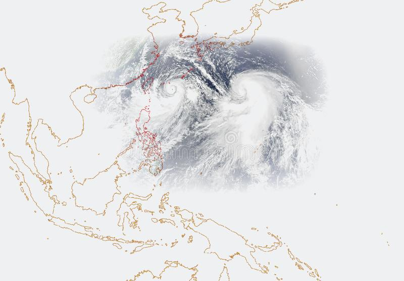 Forest fires hot spots South East Asia. Southeast Asian unhealthy air pollution haze issue due to forest fires hot spots occurs. Illustration images tracing vector illustration