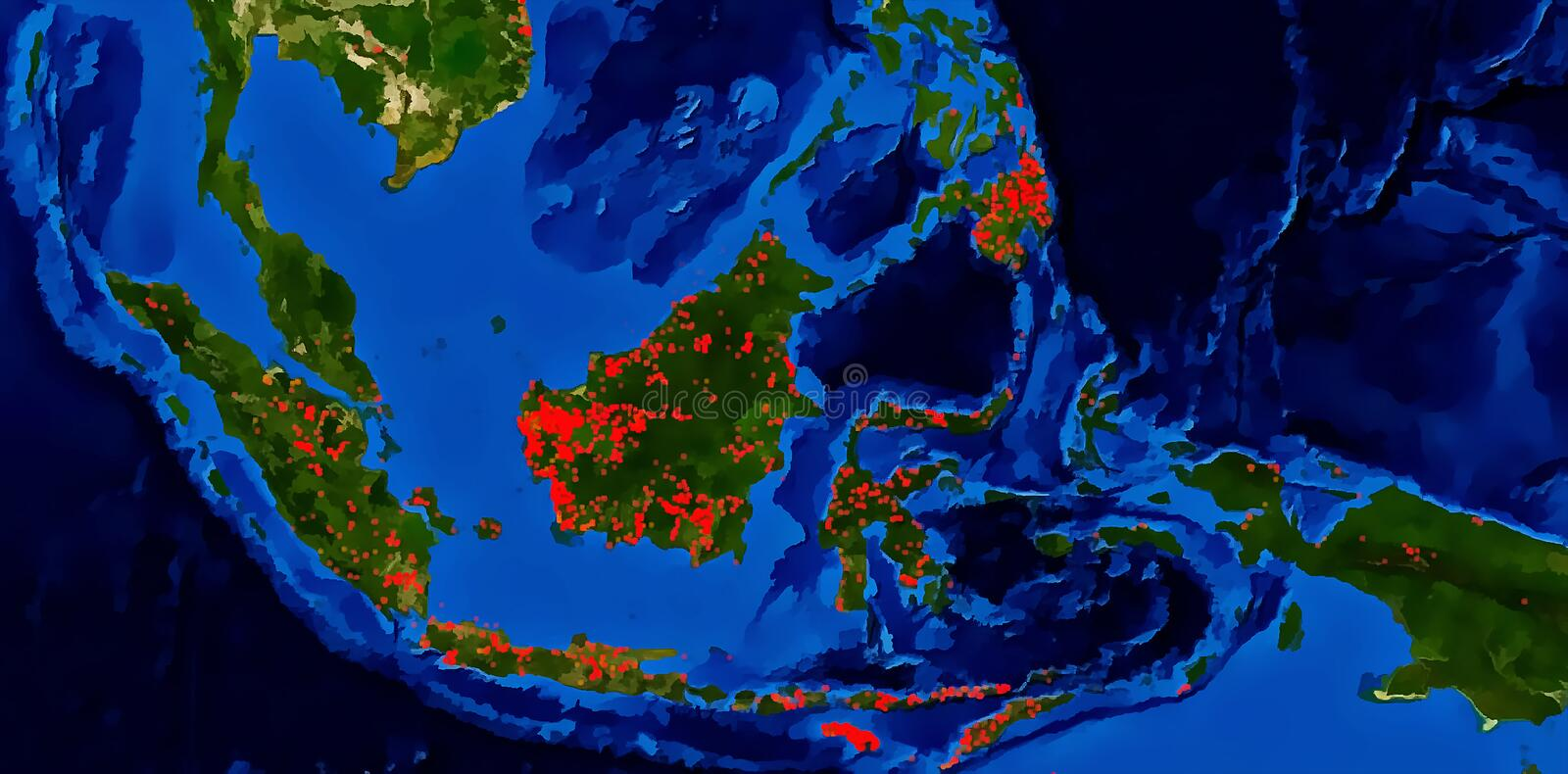 Forest fires hot spots South East Asia. Southeast Asian unhealthy air pollution haze issue due to forest fires hot spots occurs. Images are tracing from latest stock illustration