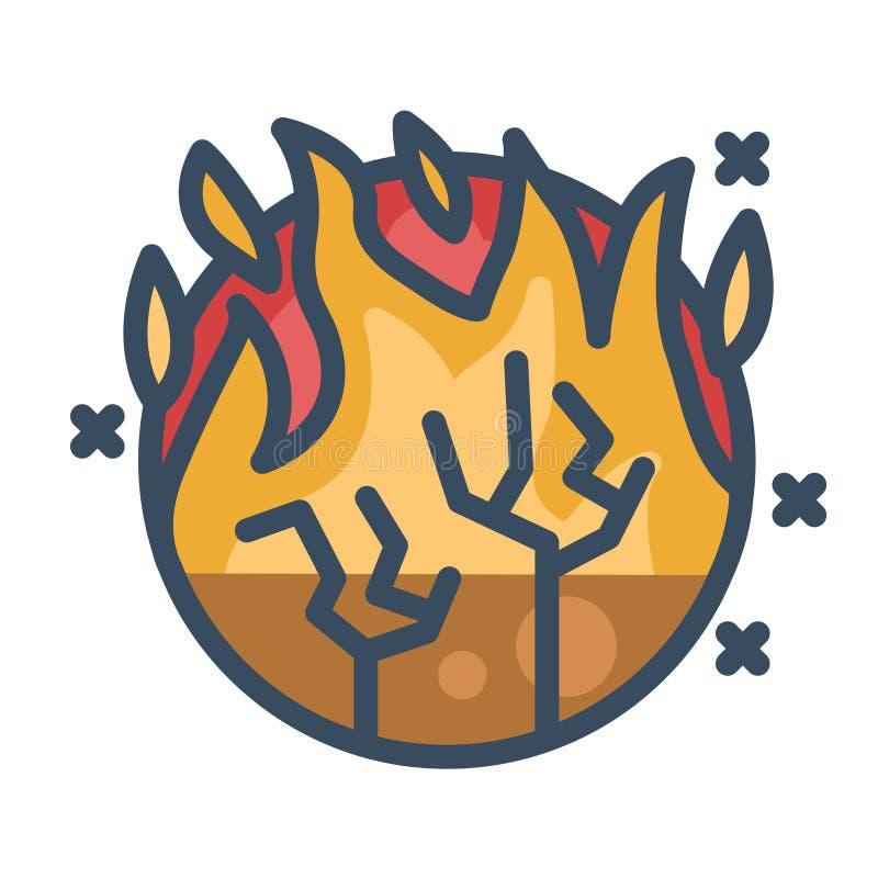 Forest fires LineColor illustration. Forest fires vector illustration in line color design royalty free illustration