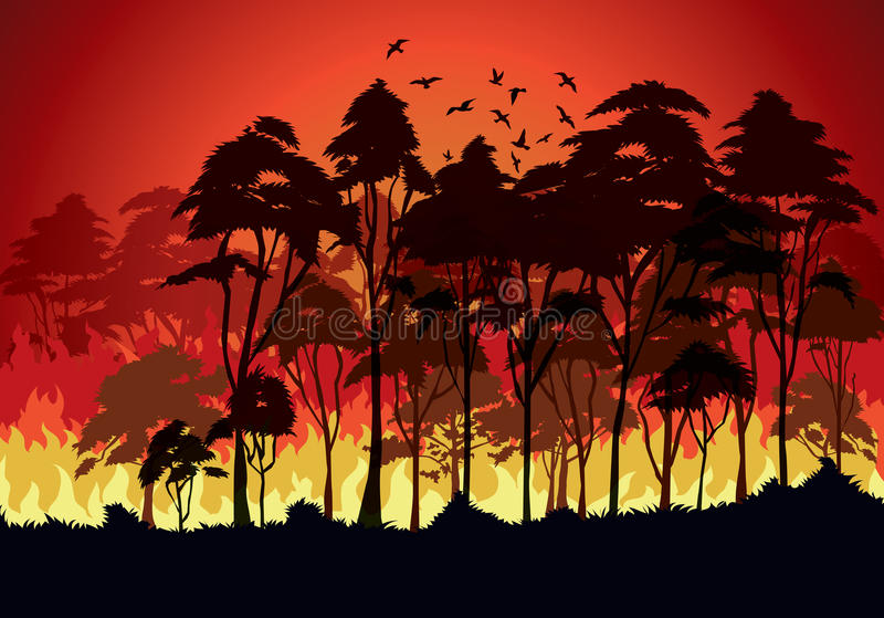 Forest fires. Natural tree royalty free illustration