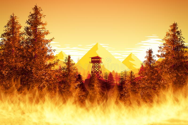 Forest fires with watchtower. An illustration of forest fires with watchtower royalty free illustration