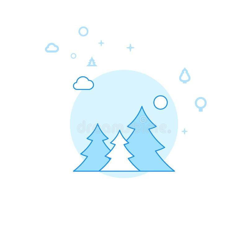 Forest Flat Vector Illustration conifero, icona Progettazione monocromatica blu-chiaro Colpo editabile illustrazione di stock