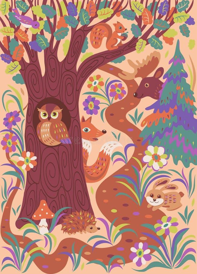 Forest folk animal. Fairy tale forest with funny cartoon animals. Vector illustration