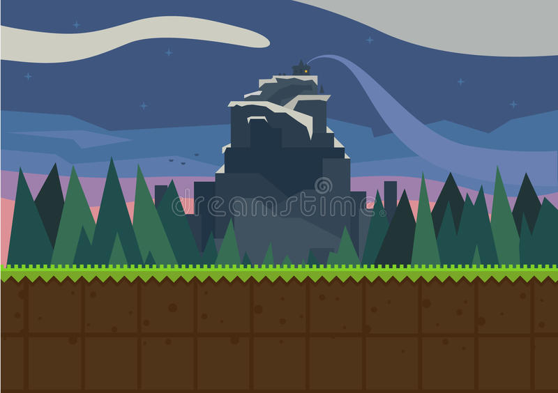 Forest and fortress. Vector flat background for the game vector illustration